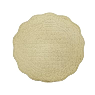 Textiles Plus Inc Set of 4 100-Percent Cotton Quilted Double Stitching Ballard Placemat Set, Round, Natural