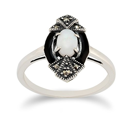 Art Deco Marcasite Ring - 925 Sterling Silver Opal & Marcasite Art Deco Ring