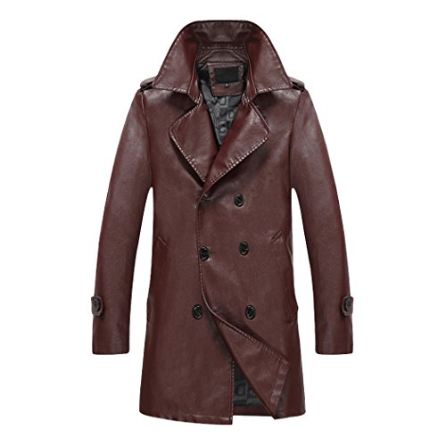 Modern Fantasy Mens Business Suit Collar Trench Leather Coat Long Jacket Size US Wine Red M (Leather Trench Mens Long Coat)