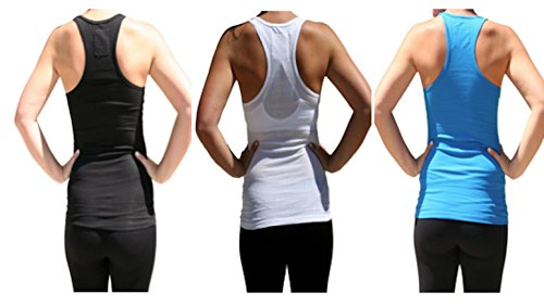 Zenana Outfitters Women's 2pk&3pk Racerback Rib Tank Tops (S, Black White Blue)