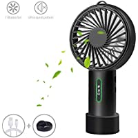 LOBKIN Foldable Personal Portable Mini Desk Fans with USB Rechargeable 2600mAh Battery (Black)