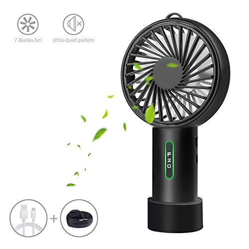 LOBKIN Foldable Personal Portable Mini Desk Fans with USB Rechargeable 2600mAh Battery Operated Electric Fan for Office Room Outdoor Household Traveling BBQ,Picnic (Black(Updated Version))