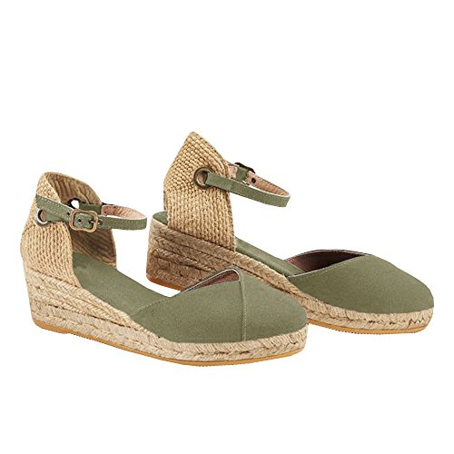 Ermonn Womens Platform Wedge Sandals Closed Toe Lace Up Ankle Strap Espadrille Sandals (8.5 B(M) US, Army Green)