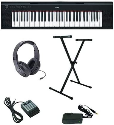 Yamaha Piaggero NP-12 Ultra-Premium paquete de teclado con auriculares, soporte, pedal de sostenimiento y fuente de alimentación