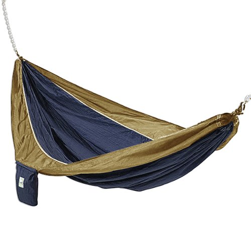 Hammaka Lightweight, Portable Parachute Silk 2-Person Hammock Swing For Outdoor/Patio, Blue And Bro