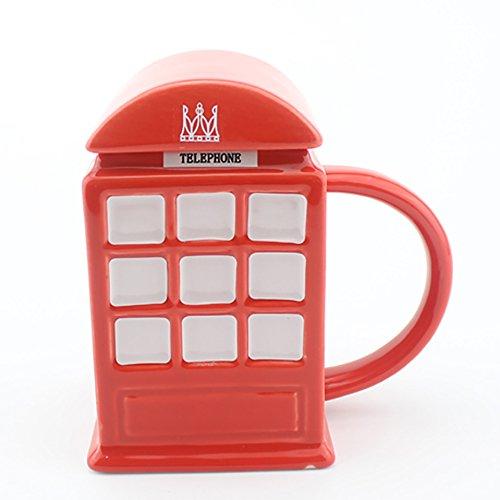 Red Telephone Box London Ceramics Coffee Mug With Lid (London Ceramic)