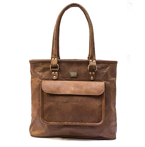 PASCADO womens brown leather tote with top handle purse zipper bag 15 inch shoulder vintage tan ()