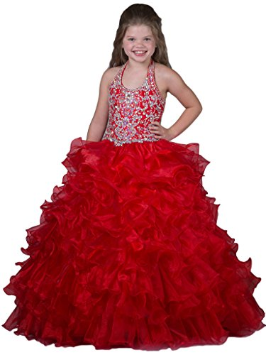 GreenBloom Floor Length Girls' Halter Backless Beads Layered Ruffles Pageant Dresses Red 14