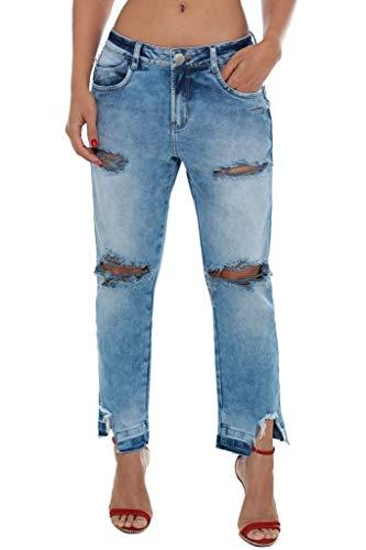 Calça Jeans Denuncia Boyfriend Azul 42