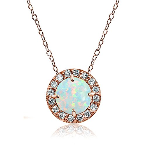 Rose Gold Flashed Sterling Silver Simulated White Opal and Cubic Zirconia Accents Round Halo ()