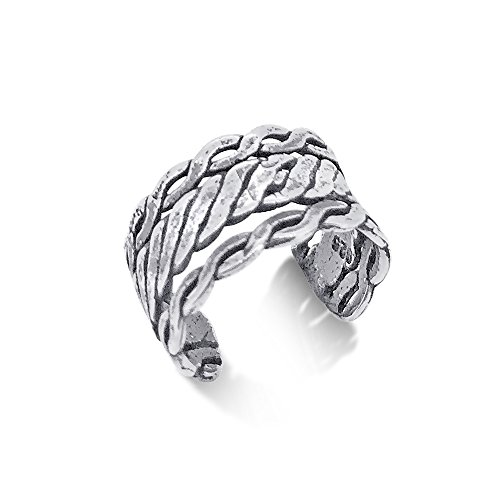 Sterling Silver 925 Ear Cuff for Earrings Triple Braid Design Nickel Free & Tarnish Free