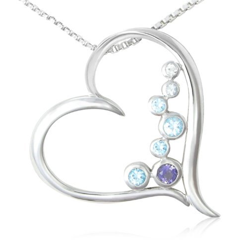 Sterling Silver Round Shaped Iolite, Swiss Blue Topaz, Sky Blue Topaz and White Topaz Heart Pendant Necklace , 18