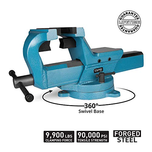 """Capri Tools 4/"""" Bench Vise With 360° Rotation Forged Steel"""