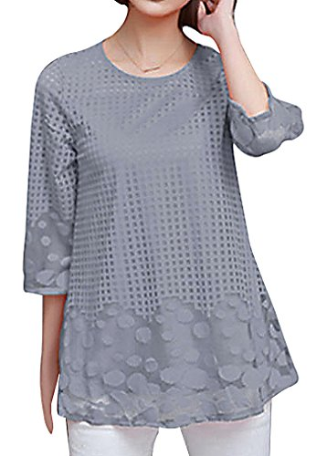 - US&R Women's Acrylic Spandex Elbow Sleeve Grid & Oval Patterns Comfy Blouse, Gray L,Manufacturer(XL)
