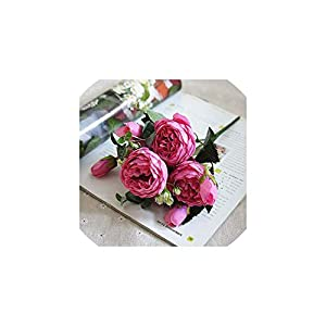 Fashion-LN Artificial Flowers for Decoration Rose Peony Silk Small Bouquet Party Spring Wedding Decoration,D 22