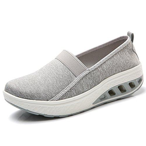JieLuka Womens Super Elastic Breathable Mesh Loafers PU Thick Bottom Rocking Shoes
