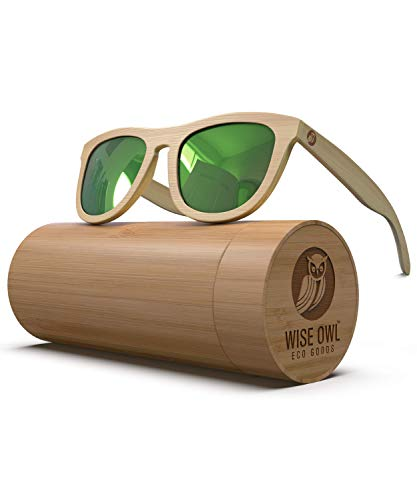 Polarized Bamboo Wood Sunglasses For Men & Women Featuring 11 LAYERED Lens |Wood Sunglasses With Distortion Free, Anti-Reflective & Anti-Scratch Lens -Light Weight Bamboo Sunglasses Wood ()