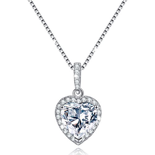 Love Heart Necklace April Simulated Diamond Birthstone Necklace Sterling Silver Necklace Gifts for Mom
