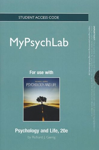 NEW MyLab Psychology without Pearson eText -- Standalone Access Card -- for Psychology and Life (Mypsychlab (Access Code