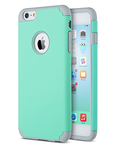 iPhone 6S Case, iPhone 6 Case, ZAOX Slim Dual Layer Soft Silicone Bumper & Hard PC Back Cover, Shock-Absorption&Skid-proof Anti-Scratch Hybrid Case for Apple iPhone 6/6S (Teal+Grey)