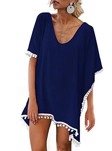 Womens Chiffon Pom Pom Kaftan Swimwear Bathing Suit Beach Cover up Free Size Navy Blue