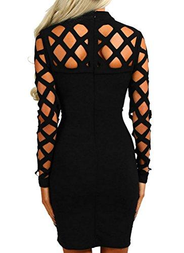 AMiERY-Womens-Black-Hollow-Out-Bandage-Clubwear-Long-Sleeve-Bodycon-Dresses-S-XL