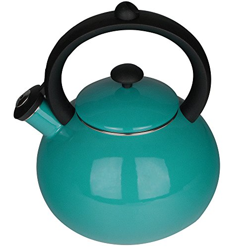 Aidea Whistling Tea Kettle Stovetop - Porcelain Enameled Kettles 2-Quart Teapot Teal Turquoise