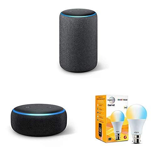 Echo Plus (Black) bundle with Echo Dot (Black) and Wipro white smart bulb