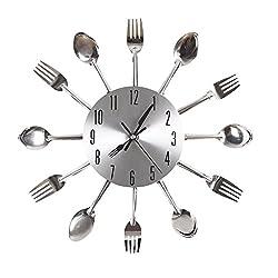 ChezMax Cutlery Kitchen Wall Clock Fork & Spoon Decorative Wall Clock Creative Clock