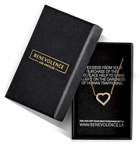 - Benevolence LA Heart Necklace: Diamond Shape Cubic Zirconia Stones Jewelry for Woman Teens Girls 14k Gold Dipped Dainty