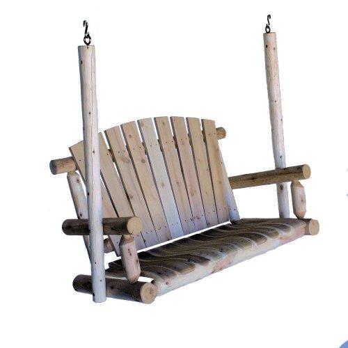 Lakeland Mills 4-Foot Cedar Log Porch Swing, Natural free shipping
