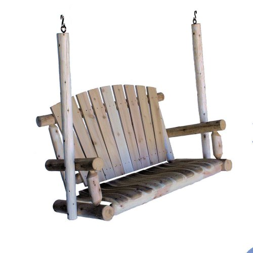 (Lakeland Mills 4-Foot Cedar Log Porch Swing, Natural)
