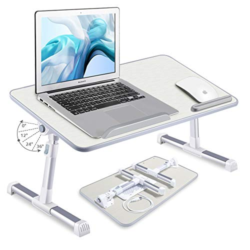 [Large Size] LEYONA 23.6″ Adjustable Laptop Stand, Portable Laptop Table(1 Cooling Fans)with Foldable Legs Notebook Computer Desk for Laptop Reading(Gray)