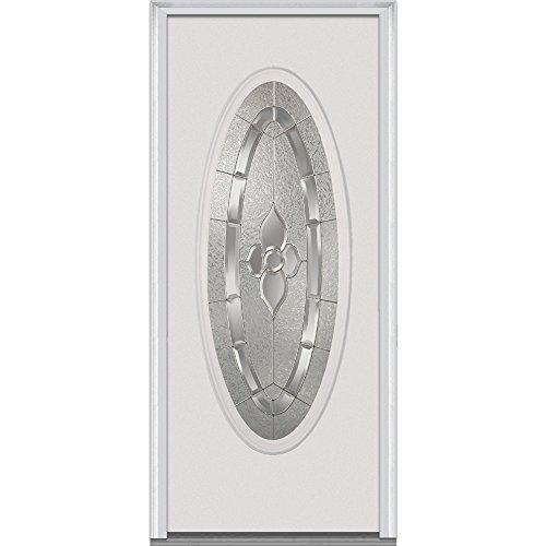 National Door Company EMJ919MNN26FSVL Steel, Primed, Left Hand In-swing, Exterior Prehung Door, Master Nouveau, Large Oval 30''x80'' by National Door Company