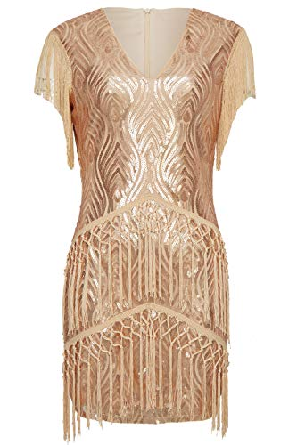 BABEYOND 1920s Flapper Dress Long Fringed Gatsby Dress Roaring 20s Sequins Beaded Dress Vintage Art Deco Dress (Rose Gold, XXL)