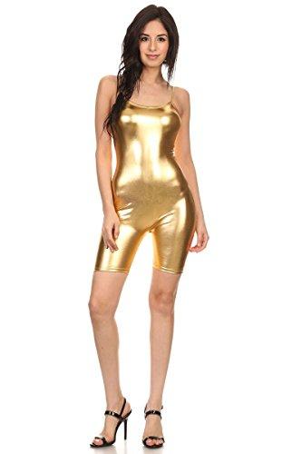 Camisole Unitard (Women's Teamwear Metallic Camisole Short Unitard (Small, Metallic Gold))