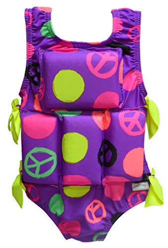 My Pool Pal Girl's or Boy's Swimwear Flotation Lifevest Swimsuit (Purple Polka Dot, ()
