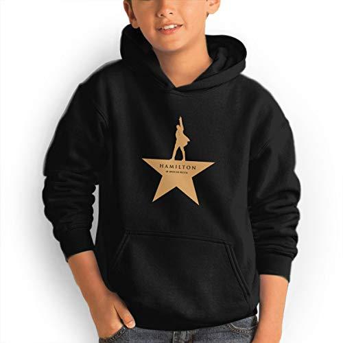 Summer Teen Boys' Hoodies Sweatshirts Girls Hooded Pullover Casual Long Sleeve Big Pockets Sweater, Hamilton an American Musica Black