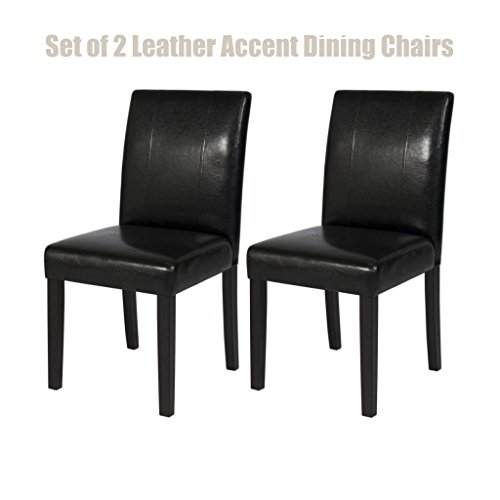 Modern Design Leather Accent Dining Chairs Sturdy Wooden Frame Comfortable High Density Padded Cushion Seat Home Office Furniture - Set of 2 Black - Outlet Manchester Uk
