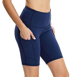 Vogyal Women's 8″ Yoga Shorts High Waist Tummy Control Workout Running Shorts with 2 Pockets