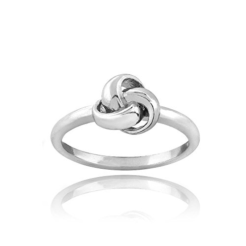 Sterling Silver Polished Love Knot Ring Size (Strap Stacking Bar)