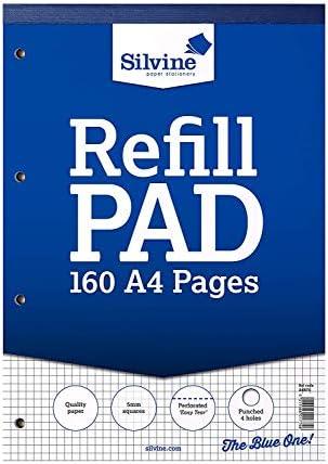 2 x A4 Nachfüllblock, liniert, 5 mm kariert, 160 Seiten 75 g/m² Papier. Ref A4RPX (210 x 297 mm)