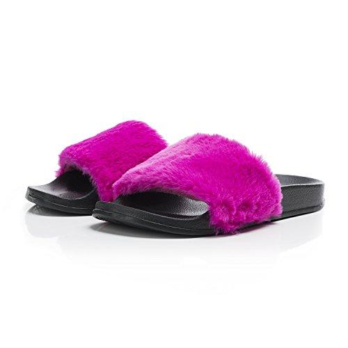 OCICI Women Slide Slipper Faux Fur Soft Flat Slide Slippers (7/8, Rose (Rose Faux Fur)
