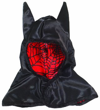 Great Pretenders Reversible Spider and Bat Hood, Black/Red (One Size) (Spiderman Reversible Costume)