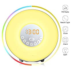 Wake Up Light Alarm Clock - Sunrise Simulator With 7 Color Light, Nature Sounds or FM Radio Alarm - Touch Control - Include USB Charger - For Heavy Sleepers & Kids