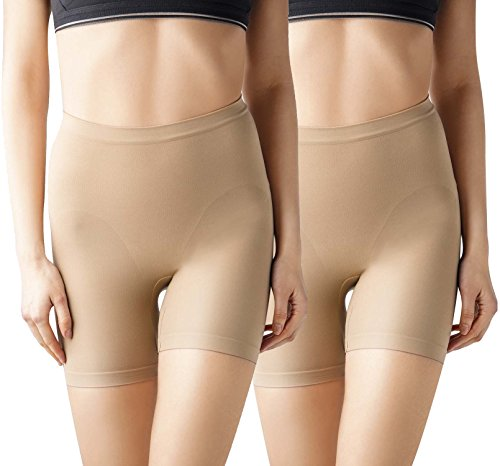 MD Women's Seamless Shapewear Mid Thigh Tummy Shaper Slimmer Power Shorts 2Large Nude