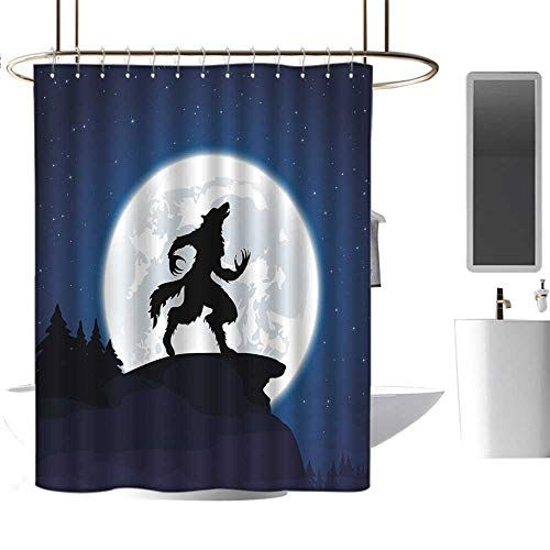 Bathroom Shower curtain72 x78 Wolf,Full Moon Night Sky Growling Werewolf Mythical Creature in Woods Halloween,Dark Blue Black White,Hand Drawing Effect Fabric Shower Curtains]()