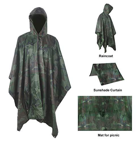Mens Raincoat Camouflage (Oeak 3 in 1 Rain Poncho Waterproof Raincoat Hooded Rain Jacket with Zipper for Men & Women Camo)