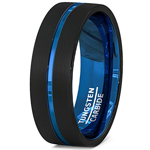 Duke Collections 8mm Two Tone Black Mens Tungsten Ring Blue Groove Flat Edge Comfort Fit