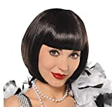 AMSCAN Flapper Wig Halloween Costume Accessories, Black, One Size